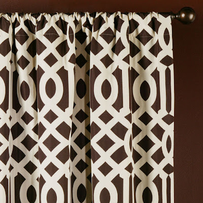 Brown and white graphic print drapery panels from Z Gallerie