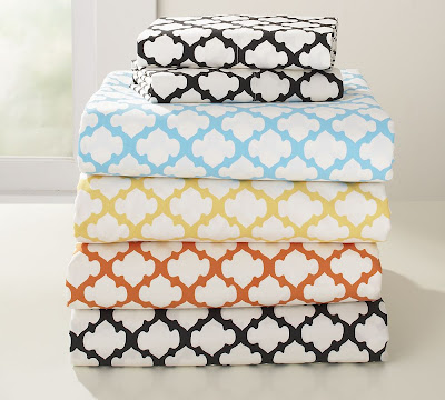 Sheet set with bold Moorish pattern from Pottery Barn