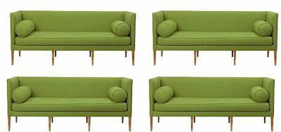 Eight images of a modern sofa upholstered in green linen from Anthropologie