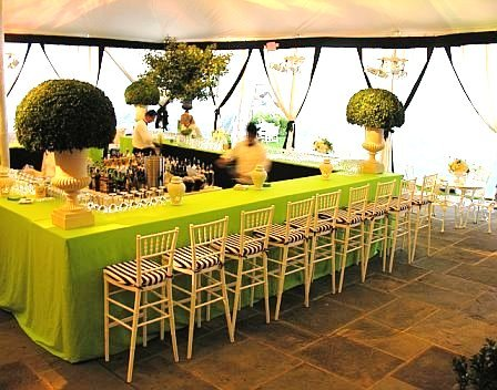 Square communal bar at a wedding reception by Delaney Todd Bagwell with lime green draping, large green topiaries in white urns and a row of white bamboo stools