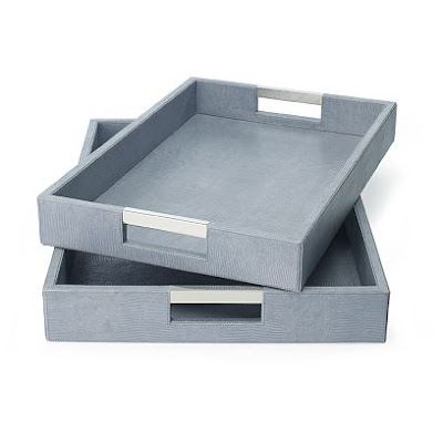 William Sonoma Home's light blue chambray Embossed Lizard Leather Tray