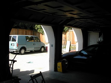 Inside garage prior to remodeling