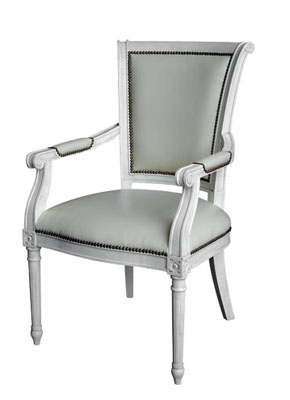 Directoire style hand carved wood upholstered armchair from Maison Luxe