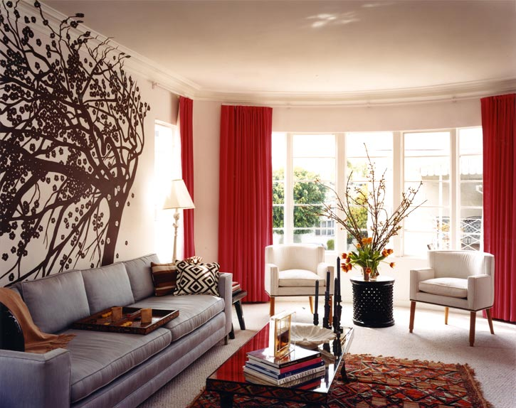 Red Living Room with Curtains