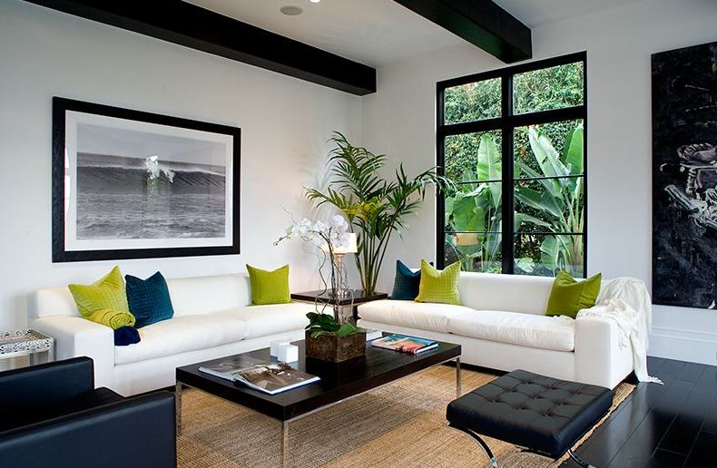 Black And White Living Room In A Spanish Revival Home With