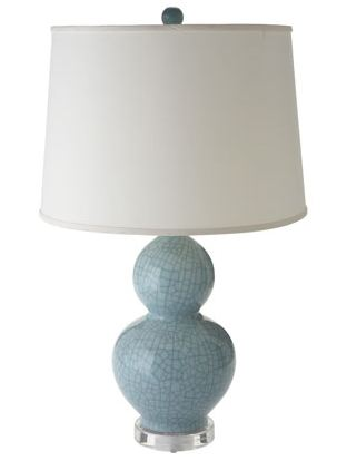 Light blue gourd lamp with crackle accents from Horchow