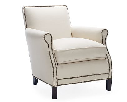 White club chair with nail head trim from William Sonoma Home