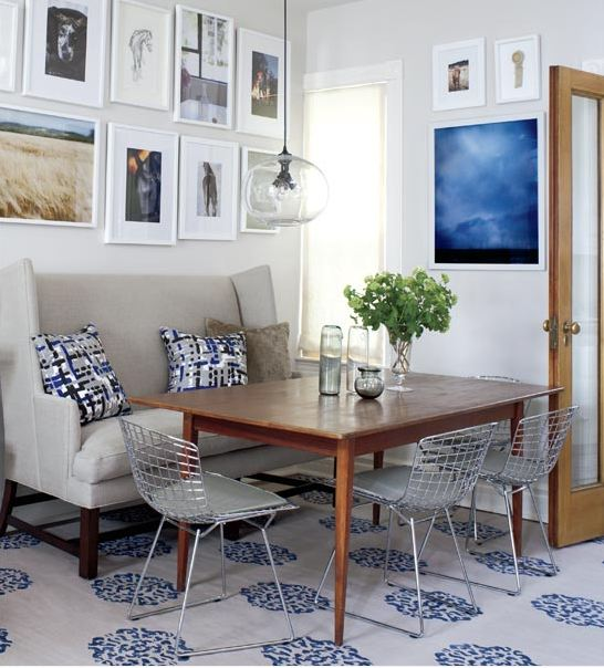 Cococozy blue and grey all the way in a small victorian for Dining room banquette