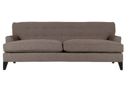 Upholstered sofa with two cushions