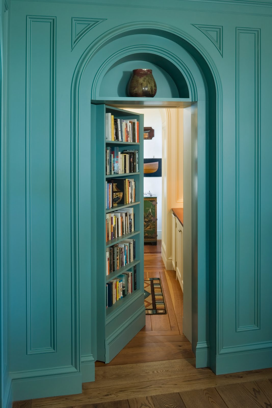 Turquoise Blue Paneled Walls In A Traditional Library Mansion Maine Above