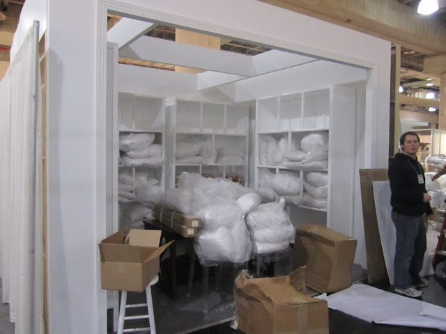 White box that will become the COCOCOZY booth at the New York International Gift Fair
