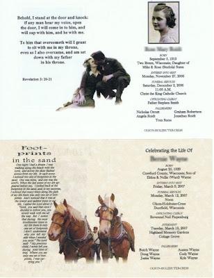 Cress Funeral Service Memorial Folder