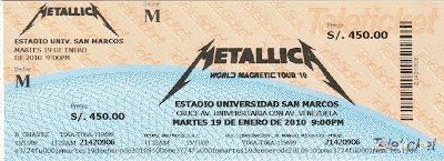 Entrada a Metallica