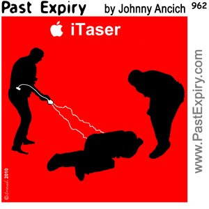 [CARTOON] Taser.  images, pictures, Apple, advertising, cartoon, crime, spoof, violence.