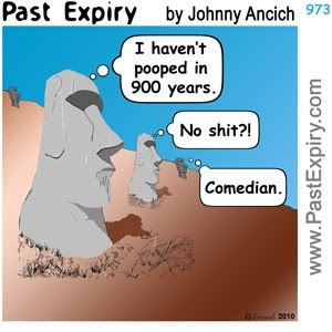 [CARTOON] Easter Island Constipation.  images, pictures, cartoon, diarrhea, Easter, pun