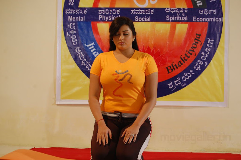 Namitha Doing Yoga Love College Movie Stills Love College Movie Wallpapers unseen pics