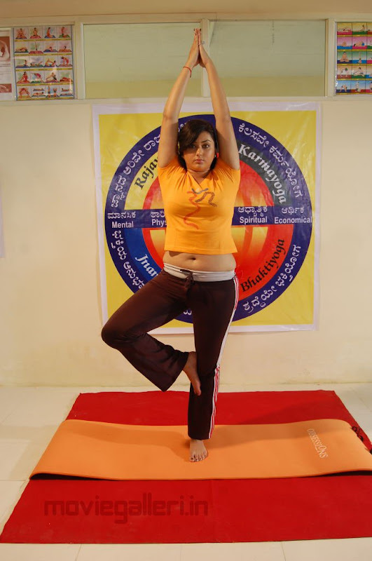Namitha Doing Yoga Love College Movie Stills Love College Movie Wallpapers glamour images