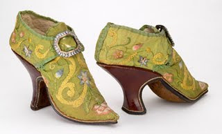 Venetian Green Court Shoes early 1800s England