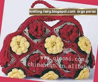 Çiçek Motifli ÇANTA ÖRGÜ MODELLERİ