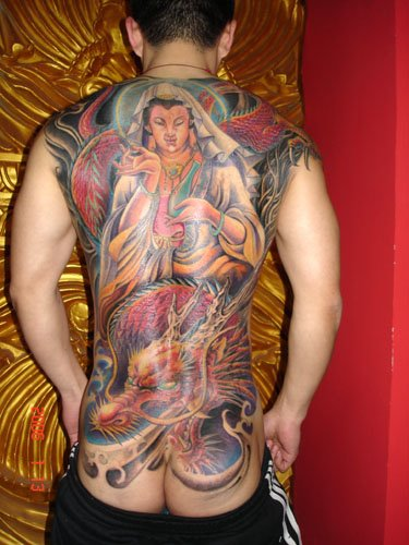 People have tribal tattoos on shoulder, chest, arms, wrists, and back.