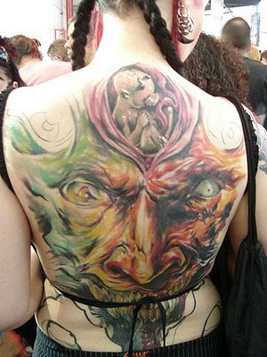 Women Full Back Body Tattoo Picture