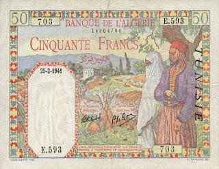 La monnaie (les billets) tunisienne à travers le temps Recto+50+francs+1941