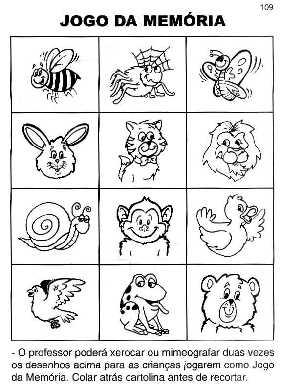 Favoritos Jogo da Memória para colorir e imprimir - Mundinho da Criança  QY67