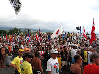 Ironman visitors waiting at Kona Pier for start