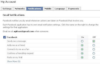 notification setting facebook