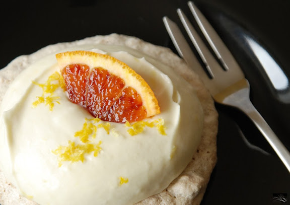 Pecan Coconut Pavlova with Lemon Cream