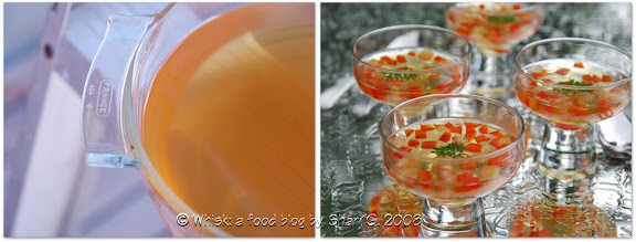 Consomm Madrilne (Chilled Consomm with Red Peppers and Tomatoes)
