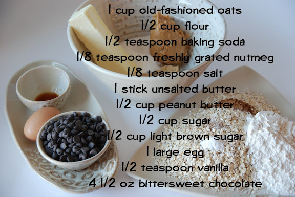 Ingredients for Chunky Peanut Butter and Oatmeal Chocolate Chipsters