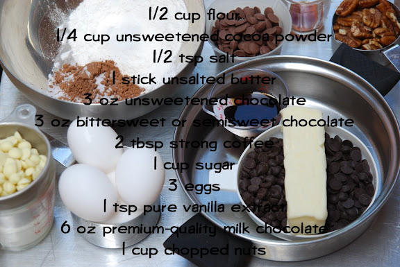 Ingredients for Quintuple Chocolate Brownies