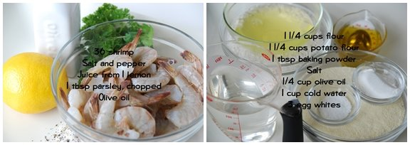 Beignets de Crevettes (Shrimp Fritters) mise en place