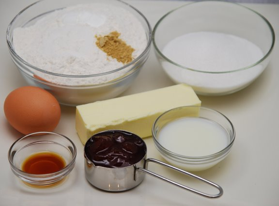 Ingredients for Buttery Jam Cookies