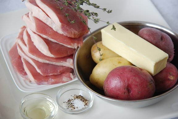 Côtes de Porc Flamande (Baked Pork Chops with Potatoes and Thyme) mise en place
