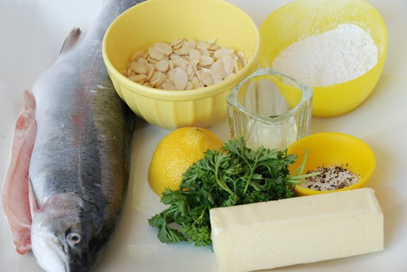 Truite aux Amandes (Trout with Almonds) mise en place
