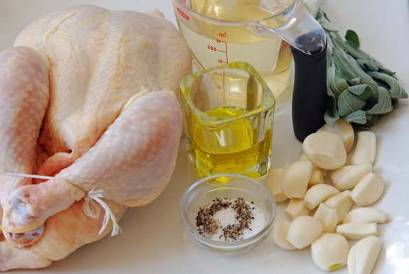 Fricasse de Poulet  l'ail et  la Sauge (Chicken Fricassee with Garlic and Sage) mise en place