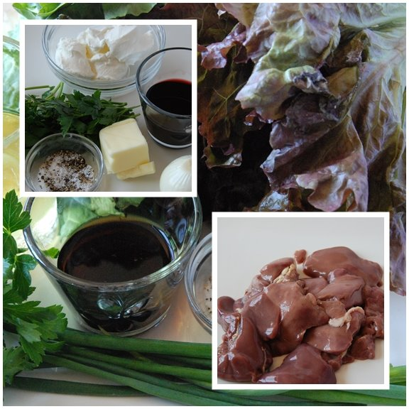 Salade de Foies de Volailles Tiedes (Salad of Warm Sautéed Chicken Livers) mise en place