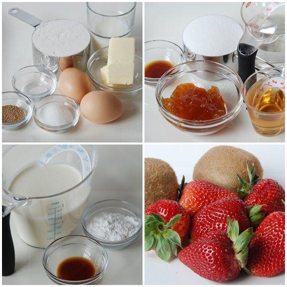 Savarin aux Kiwis et aux Fraises (Rum Savarin with Kiwis and Strawberries) mise en place