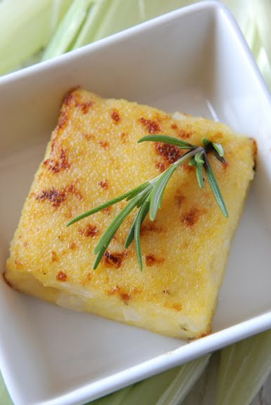 Crispy Polenta with Fresh Corn and Aged Cheddar