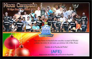 La Asociciación de Fútbol de la Provincia Espaillat (Moca) nos envian tarjeta de navidad