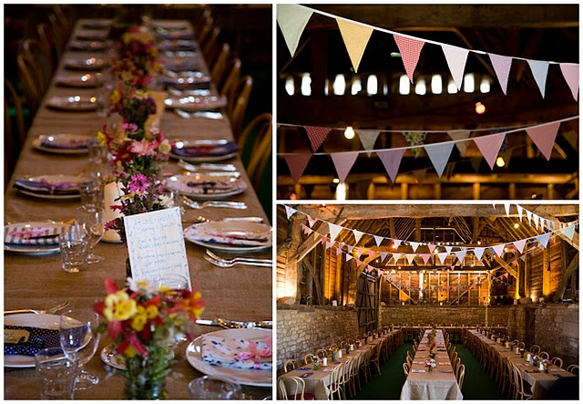 A stone walled barn bunting and burlap table linens make it so much fun