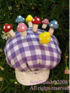 Mushroom pins craft Sculpey Fimo sewing project mushrooms pincushions