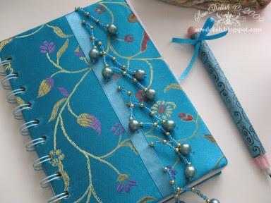 Chinese brocade fabric notebook make Bind-it-all