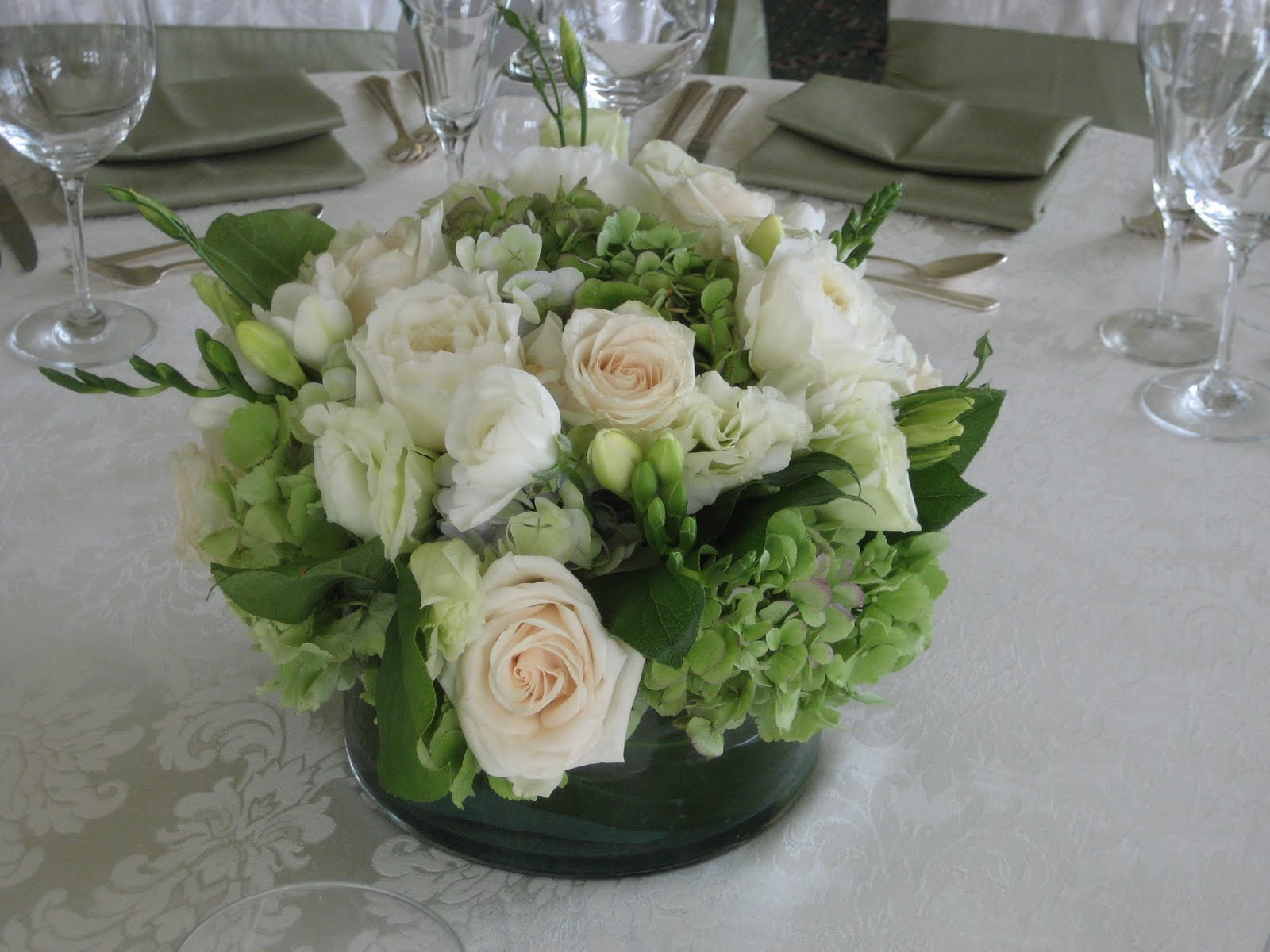 Blush floral design green white hartford country club