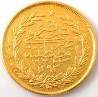 1293/12 250 Kuruş Altın YAZI yüzü