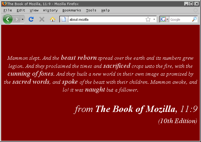 firefox 3 hidden easter egg page - about:mozilla - The Book of Mozilla 10th Edition