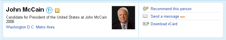John McCain's profile on linkedin professional network