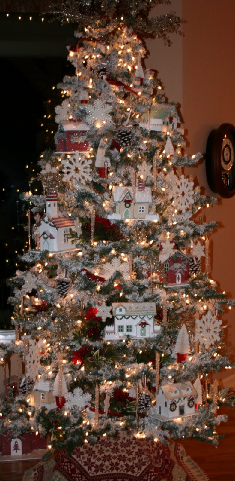a glittery christmas village in the tree our - Christmas Tree Village